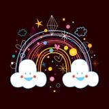 De wolken van de beeldverhaalregenboog royalty-vrije illustratie