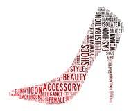 De wolken van de de schoenentekst van de vrouw Stock Foto
