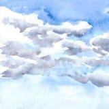 De wolken van de waterverftekening Stock Fotografie