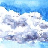 De wolken van de waterverftekening Stock Afbeeldingen