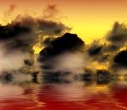 De wolken van Grunge die bloedig water worden overdacht Stock Afbeeldingen