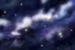 De wolken van het gas op sterrenachtergrond Stock Afbeelding