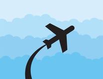 De Wolken van het vliegtuigsilhouet Stock Fotografie