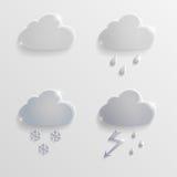 De Wolken van weerpictogrammen van glas Stock Foto