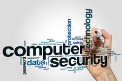 De wolkenconcept van het computerbeveiligingwoord op grijze achtergrond Royalty-vrije Stock Foto