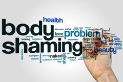 De wolkenconcept van het lichaams shaming woord op grijze achtergrond Stock Fotografie