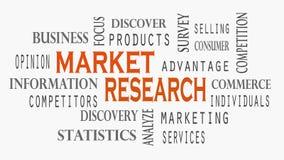 De wolkenconcept van het Marktonderzoekwoord op witte achtergrond vector illustratie