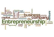 De wolkenconcept van het ondernemerschapswoord stock foto