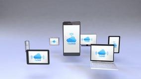 De wolkendienst in slimme telefoon met alomtegenwoordig mobiel apparatenconcept stock illustratie