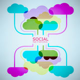 De Wolkenidee van het malplaatjeontwerp met sociaal netwerk Stock Foto's