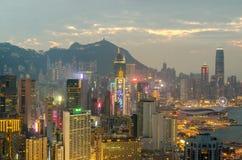 De wolkenkrabbers en andere gebouwen op Hong Kong Island in Hong Kong, China, bekeken van de Braemar-Heuvel Stock Fotografie