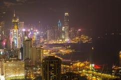 De wolkenkrabbers en andere gebouwen op Hong Kong Island in Hong Kong, China, bekeken van de Braemar-Heuvel Stock Foto's