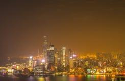De wolkenkrabbers en andere gebouwen op Hong Kong Island in Hong Kong, China, bekeken van de Braemar-Heuvel Royalty-vrije Stock Foto's