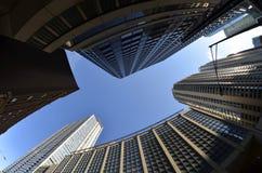 De Wolkenkrabbers Stedelijk Landschap van stadsgebouwen stock afbeelding