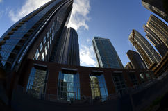 De Wolkenkrabbers Stedelijk Landschap van stadsgebouwen stock fotografie