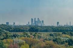 De wolkenkrabbers van de grote stad worden omringd door een groen bos stock fotografie