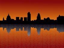 De Wolkenkrabbers van Londen bij Zonsondergang Royalty-vrije Stock Foto