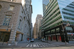 De wolkenkrabbers van New York in Manhattan, Broadway en Bever st, de V.S. Royalty-vrije Stock Fotografie