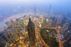 De wolkenkrabbers van Shanghai Lujiazui CBD Stock Foto