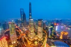 De wolkenkrabbers van Shanghai Lujiazui CBD Stock Foto's