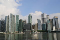 De Wolkenkrabbers van Singapore Stock Foto's