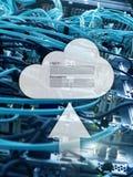 De wolkenopslag, de gegevenstoegang, login en het wachtwoord verzoeken om venster op de achtergrond van de serverruimte Internet  royalty-vrije stock afbeelding