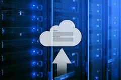De wolkenopslag, de gegevenstoegang, login en het wachtwoord verzoeken om venster op de achtergrond van de serverruimte Internet  stock fotografie