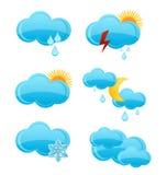 De wolkensymbolen van het Web geplaatst blauwe kleur Royalty-vrije Stock Afbeeldingen