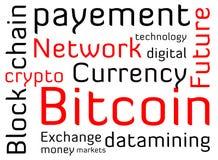 De wolkentekst van het Bitcoinwoord royalty-vrije illustratie