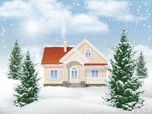 De woningbouw van het de winterlandschap royalty-vrije illustratie