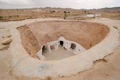 De woningen van de holbewoner, Tunesië stock afbeeldingen