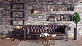 De woonkamer, binnenlands 3D ontwerp geeft 3D illustratie terug Stock Fotografie