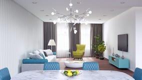 De woonkamer, binnenlands 3D ontwerp geeft 3D illustratie terug stock illustratie