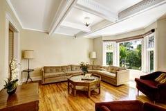 De woonkamer met coffered plafondsysteem Stock Foto
