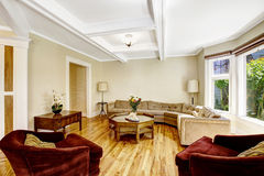 De woonkamer met coffered plafondsysteem Royalty-vrije Stock Afbeeldingen