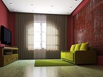 De woonkamer van tv met kunst en rode gordijnen royalty vrije stock fotografie afbeelding - Meubilair tv rode ...