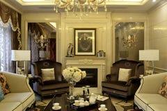 De woonkamer van de Europees-stijlluxe Royalty-vrije Stock Afbeelding