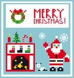 De woonkamer van de Kaartkerstmis van de pixelvakantie met Kerstmanachtergrond Stock Afbeeldingen