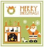 De woonkamer van de Kaartkerstmis van de pixelvakantie met Kerstmanachtergrond Royalty-vrije Stock Afbeeldingen