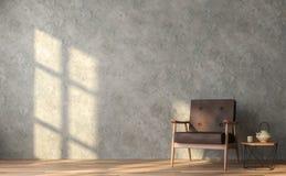 De woonkamer van de zolderstijl met opgepoetste concrete 3D muren geeft terug royalty-vrije illustratie
