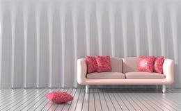De woonkamer wordt geleverd met meubilair` s kleur van liefde voor valentijnskaartdag Stock Afbeelding