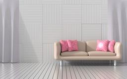 De woonkamer wordt geleverd met meubilair` s kleur van liefde voor valentijnskaartdag Royalty-vrije Stock Fotografie