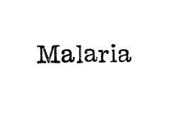 De woord` Malaria ` van een schrijfmachine op wit stock afbeelding