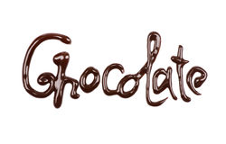 De woordchocolade door chocolade op wit wordt geschreven dat Royalty-vrije Stock Foto