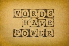 De woorden hebben macht stock foto