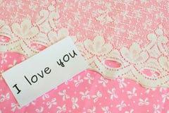 De woorden ` I houden van u die ` op stoffenachtergrond wordt geïsoleerd Royalty-vrije Stock Foto's