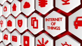 De woorden Internet van dingen in rood en divers symbool Stock Foto's