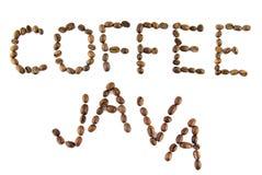 De woorden van de koffie en van Java van koffie Royalty-vrije Stock Afbeelding