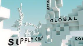 De woorden van de verwervingslogistiek met kubussen worden geanimeerd die stock illustratie