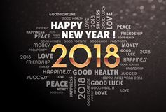 2018 de woorden van de nieuwjaargroet Royalty-vrije Stock Foto